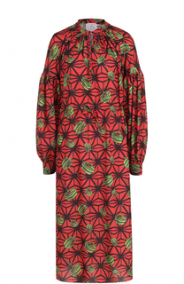 Приталенное платье-миди с ярким принтом Stella Jean