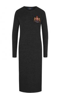 Платье-миди из смеси шерсти и кашемира с длинным рукавом Polo Ralph Lauren