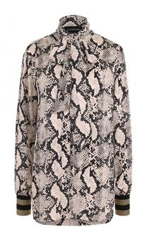 Блуза со змеиным принтом и воротником аскот By Malene Birger