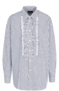 Хлопковая блуза в полоску с оборками Polo Ralph Lauren