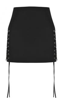 Однотонная мини-юбка со шнуровкой Helmut Lang