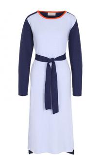 Вязаное платье-миди с длинным рукавом и поясом Tak.Ori