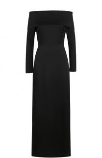 Платье-макси с открытыми плечами и высоким разрезом Theory