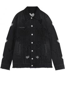 Джинсовая куртка свободного кроя с прозрачными вставками Philipp Plein