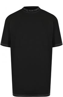 Хлопковая футболка прямого кроя с логотипом бренда Acne Studios