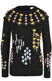 Шерстяной пуловер с круглым вырезом и вышивкой Valentino