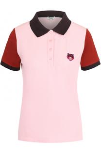 Хлопковое поло с вышитым логотипом бренда Kenzo