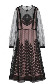 Приталенное кружевное платье-миди REDVALENTINO