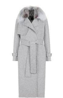Пальто из смеси шерсти и кашемира с поясом и меховой отделкой Yves Salomon