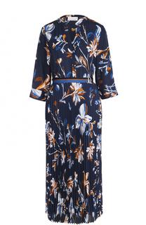 Платье-миди с плиссированной юбкой и цветочным принтом BOSS