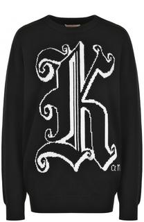 Шерстяной пуловер с круглым вырезом и принтом Christopher Kane