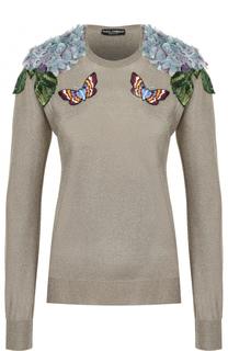 Пуловер с контрастной вышивкой и фактурной отделкой Dolce & Gabbana
