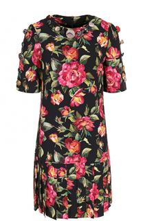 Мини-платье с юбкой в складку и цветочным принтом Dolce & Gabbana