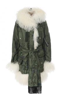 Куртка с отделкой из меха ягненка и поясом Sacai