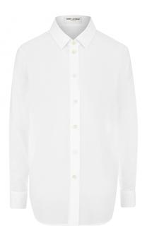 Хлопковая блуза прямого кроя Saint Laurent