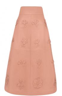 Кожаная юбка-миди с широким поясом и фактурной отделкой Valentino