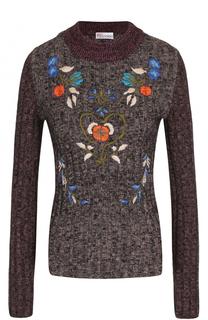 Пуловер фактурной вязки с вышивкой REDVALENTINO