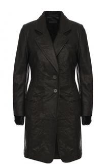 Приталенное кожаное пальто на двух пуговицах Ann Demeulemeester