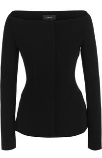 Облегающая блуза с длинным рукавом и вырезом-лодочка Theory