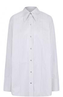 Хлопковая блуза свободного кроя в полоску Helmut Lang