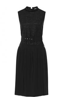 Платье-миди с плиссированной юбкой и поясом Moncler