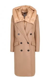 Двубортное шерстяное пальто с пуховой подстежкой Moncler