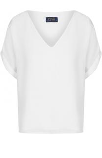 Шелковый топ свободного кроя с V-образным вырезом Polo Ralph Lauren