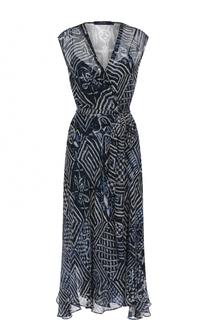 Шелковое платье-миди с принтом и поясом Polo Ralph Lauren