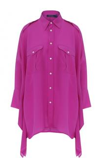 Шелковая блуза свободного кроя с погонами Polo Ralph Lauren
