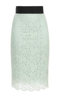 Кружевная юбка-карандаш с контрастным поясом Dolce & Gabbana