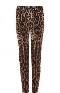 Вельветовые джинсы-скинни с леопардовым принтом Dolce & Gabbana