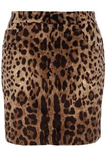 Вельветовая мини-юбка с леопардовым принтом Dolce & Gabbana