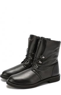 Высокие кожаные ботинки на шнуровке с внутренней меховой отделкой Giuseppe Zanotti Design