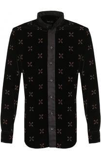 Сорочка из смеси вискозы и шелка с воротником-стойкой Giorgio Armani