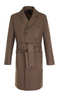 Однобортное шерстяное пальто с поясом Giorgio Armani