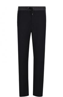 Шерстяные брюки прямого кроя с поясом на кулиске Giorgio Armani