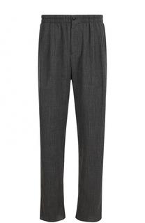 Шерстяные брюки прямого кроя с поясом на резинке Giorgio Armani