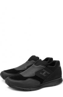 Комбинированные кроссовки без шнуровки Hogan