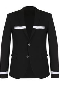 Однобортный шерстяной пиджак с контрастной отделкой Neil Barrett