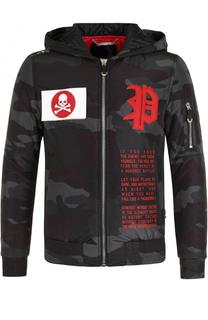 Утепленная куртка на молнии с капюшоном Philipp Plein