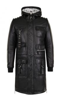 Удлиненная кожаная куртка на молнии с капюшоном Philipp Plein