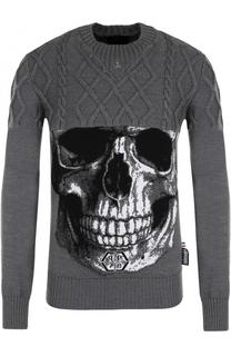 Шерстяной свитер фактурной вязки с принтом Philipp Plein
