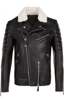 Кожаная куртка на молнии с меховой отделкой воротника Philipp Plein