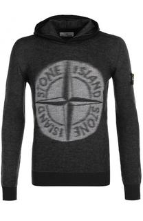 Шерстяное худи с логотипом бренда Stone Island