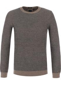 Шерстяной свитер фактурной вязки BOSS