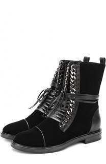 Текстильные ботинки с декоративной отделкой Casadei