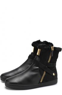 Кожаные ботинки с отделкой из замши Giuseppe Zanotti Design