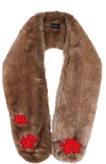 Шарф из эко-меха с вышивкой бисером Simone Rocha