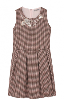 Вязаное платье с защипами и декором из пайеток Ermanno Scervino