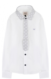 Хлопковая рубашка с контрастной отделкой и логотипом бренда Armani Junior
